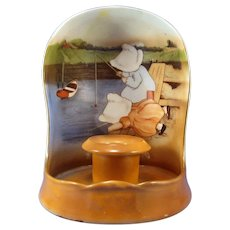 Royal Bayreuth Sunbonnet Girls Fishing Shield Back Candlestick