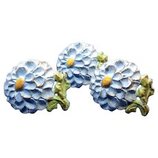 Antique Cast Iron, Cold Painted, Blue Mums Flowers, Drawer Pulls, Three PCS