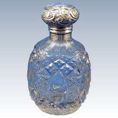 Antique Birmingham England Perfume Scent Cologne Bottle, Sterling Top, C-1900