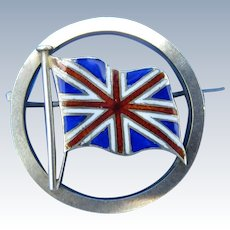 Antique Silver and Enamel Union Jack British Flag Silver Brooch