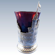 Antique Interesting Ruby Flashed Glass, Cup in a Silver Village Scene Holder