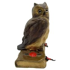 Antique Large Vienna Bronze of Owl on a Book with Glass Eyes, Cold Painted
