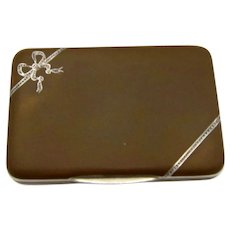 Antique Sterling and Matte Enamel Brown Box with Ribbons and Bow