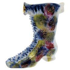 Antique Ruffled Lace Multi Colored Boot Shoe Porcelain