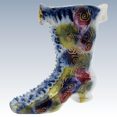 Antique Ruffled Lace Multi Colored Boot Shoe Porcelain