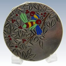 Antique Austrian Enamel and Sterling Compact with Deco Bee