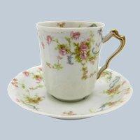 Antique Haviland Limoges Tea Cup and Saucer, Pink Roses