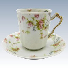 Antique Haviland Limoges Tea Cup and Saucer, Pink Roses