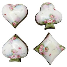 Nippon Set of 4, Clubs, Hearts, Spades, Diamonds, Porcelain Lidded Dresser Boxes Hand Painted