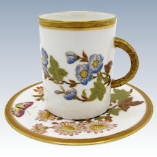 Antique Worcester Ovington Brothers, Cup and Saucer, Butterfly, Flowers
