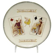 Antique French Plate Choisy & Le Roi with Playing Card Motif, Gambling