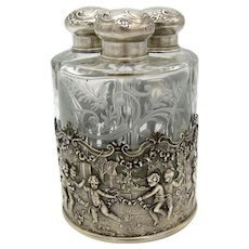 Antique AMAZING Triple Perfume Scent Bottle, In Holder, Cherubs, Scene, Engraved