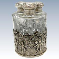 Antique AMAZING Triple Perfume Scent Bottle, In Holder, Cherubs, Scene, Engraved