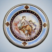 Antique Sterling Silver and Enamel Brooch with Classic Scene, Lady and Cherub