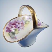 Vintage Nippon Hand Painted Violets Small Basket