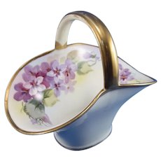 Vintage Nippon Hand Painted Violets Small Basket