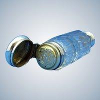 Vintage Double Ended Perfume and Vinaigrette Scent Bottle, Sterling Tops