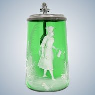 Antique Green Mary Gregory Stein with Woman, Watering Can, Glass Lid