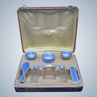 Antique Sterling and French Blue Enamel Travel Dresser Set, AMAZING Quality