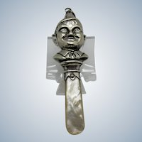 Antique Sterling and MOP ELF Boy in Hat, Birmingham, 1941, Baby Rattle