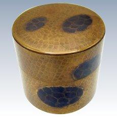 Antique Asian Hand Hammered Tea Box, Tea Caddy, W/ Scoop, Rivets Decoration