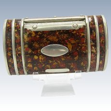 Antique Very Early Paper Mache And Silver Snuff Box, C-1820-1840