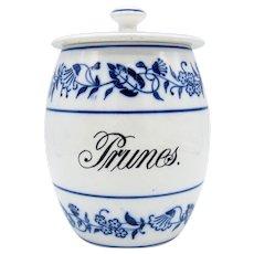 Antique Blue & White Blue Onion Pattern PRUNES Kitchen Canister Jar, Germany,