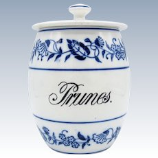 Antique Blue & White Blue Onion Pattern PRUNES Kitchen Canister Jar, Germany,