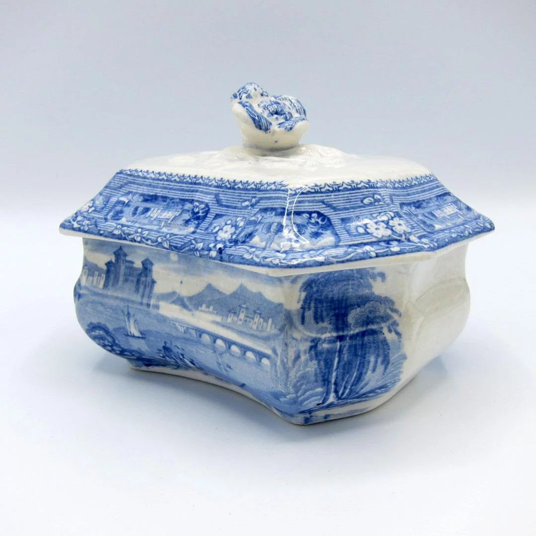 Antique Blue & White Staffordshire Soap Box Dish, Original Liner ...