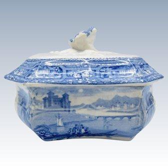 Antique Blue & White Staffordshire Soap Box Dish, Original Liner, Transferware