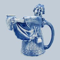 Antique Schafer and Vater Blue Wash, Maid with Milk Pitcher, Purse, Apron
