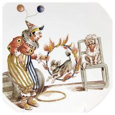 Antique Clown with Trick Dogs, Pagliacci, Plate, GREAT SUBJECT!