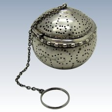 Antique Gorham Sterling Teaball Strainer with Beaded Edge and Swirl Pattern