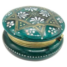 Antique Deep Green Decorated Glass Patch or Dresser Box