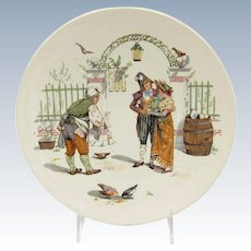 Antique French Sarreguemines Plate, Young Lovers Couple and the Innkeeper