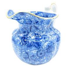 Antique Flow Blue Flower Pitcher, Cauldon England