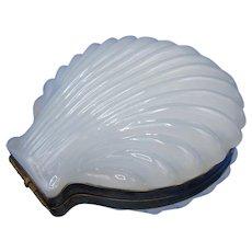 Antique White Clambroth Shell Shaped Box