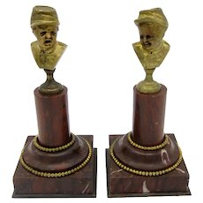 Antique Pair of Civil War Boys Bronze Statues On Marble Bases w/ Beaded Accents