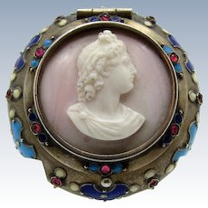 Antique Small Silver Patch Box with Cameo, Jewels, Enamel, Stunning!