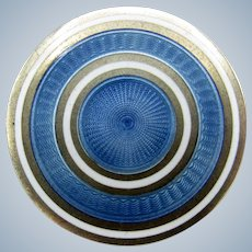 Antique Sterling Guilloche Enamel Pill Box with Blue and White Rings