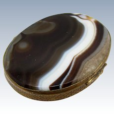 Antique Large Banded Agate Brass Box, Snuff, Victorian Era