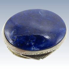 Antique Sterling and Blue Lapis Stone Pill Box