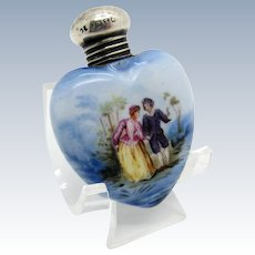 Antique Sterling and Porcelain Heart Shaped Perfume Scent Bottle, 1899