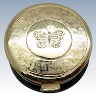 Vintage Chinese Jade Rings Box with Gold Top, Base Butterfly, Medallion