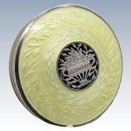 Antique Sterling Guilloche Enamel Compact Soft Yellow with Sterling Basket