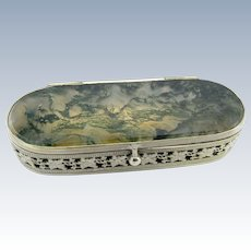 Antique Silver and Moss Agate Box with Curved Interior