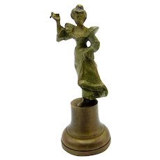 Antique Bronze Art Nouveau Woman Desk Seal