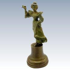 Antique Bronze Art Nouveau Woman Desk Seal