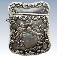 Antique Sterling Unger Bros. Cherub and Heart Postage Stamp Case With Chatelaine Ring