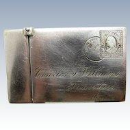 Antique Sterling Envelope Match Safe, Matchsafe, Dec. 6, 1890